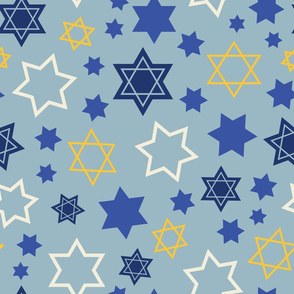 Star of David scatterd on light blue background