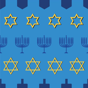Hanukkah Symbol Mix on blue background
