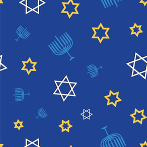 Hanukkah Symbol Mix on dark blue background