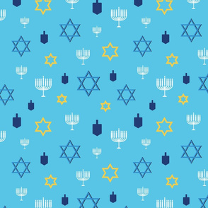 Hanukkah Symbol Mix on light blue background