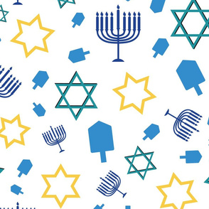 Hanukkah Symbol Mix on white background