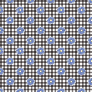 Gray Gingham Blue Daisy