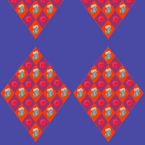 Flowery red diamonds