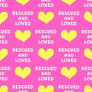 rescued and loved - yellow  and pink - LAD19