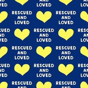 rescued and loved - blue and yellow  - LAD19