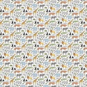 Zoo Jungle Animals Doodle with Panda, Giraffe, Lion, Tiger, Elephant, Zebra,  Birds Tiny Small 0,75 inch