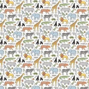 Zoo Jungle Animals Doodle with Panda, Giraffe, Lion, Tiger, Elephant, Zebra,  Birds Tiny Small Around 1 inch