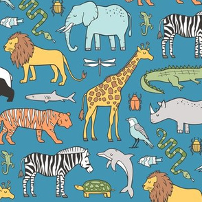 Zoo Jungle Animals Doodle with Panda, Giraffe, Lion, Tiger, Elephant, Zebra,  Birds on Dark Blue Navy