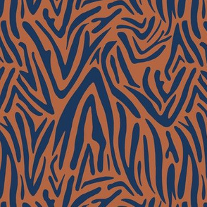 Minimal zebra wild life lovers abstract animal print monochrome trend navy blue copper brown