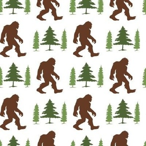 Bigfoot in Trees Green Brown V1