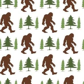 Bigfoot in Trees Green Brown V1