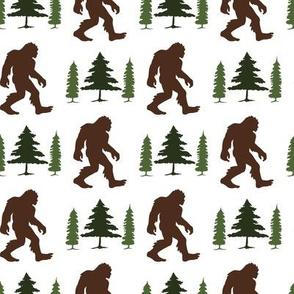 Bigfoot in Trees Green Brown V2