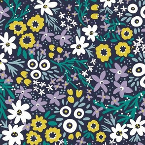 Wilderness Wildflowers (Navy)