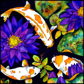 3 Koi & Waterlily Medium Scale