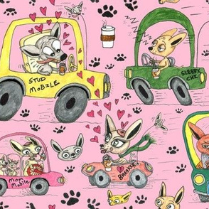 chihuahuas in cars drinking coffee, large scale, pink