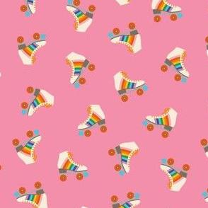 Rainbow Rollerskate Toss - Bright Pink