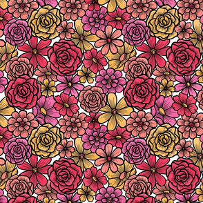 Colorful Watercolor Flower Heads in Pink, Coral, Red, and Yellow
