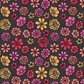 Bright Watercolor Flowers on Charcoal Black Background.