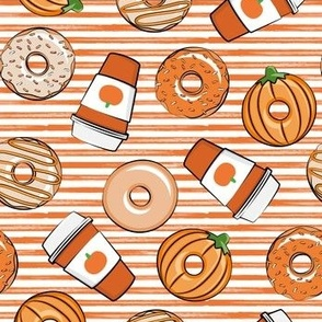 Coffee and Fall Donuts - PSL pumpkin fall donuts toss - orange stripes - LAD19