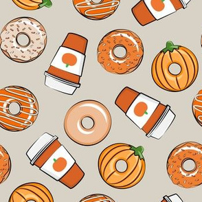 Coffee and Fall Donuts - PSL pumpkin fall donuts toss - tan - LAD19