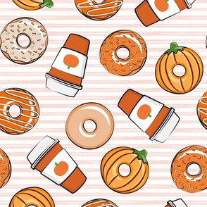 Coffee and Fall Donuts - PSL pumpkin fall donuts toss - pink stripes - LAD19