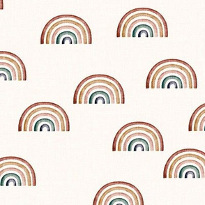 Natural linen look // Scattered death tone rainbows on Ecru background french linen
