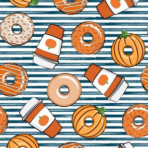Coffee and Fall Donuts - PSL pumpkin fall donuts toss - blue stripes - LAD19
