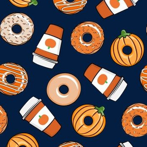 Coffee and Fall Donuts - PSL pumpkin fall donuts toss - navy - LAD19