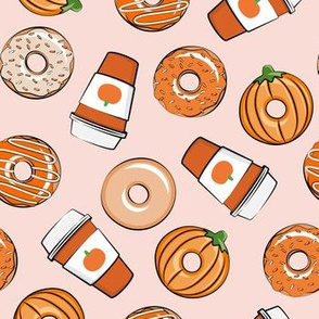 Coffee and Fall Donuts - PSL pumpkin fall donuts toss - pink - LAD19