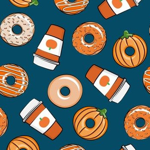 Coffee and Fall Donuts - PSL pumpkin fall donuts toss - blue - LAD19