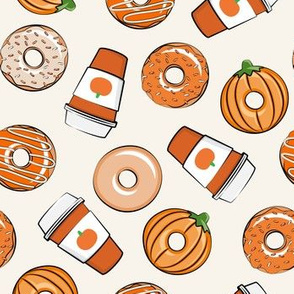 Coffee and Fall Donuts - PSL pumpkin fall donuts toss - cream - LAD19