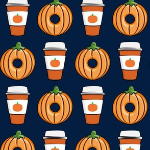 Coffee and Donuts - PSL pumpkin fall donuts - orange on navy - LAD19