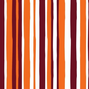 fall stripes - vertical - orange and maroon - LAD19
