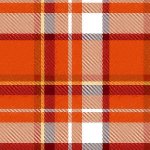 Asymmetrical Speckled Orange Yellow Burgundy and White Plaid