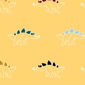rainbow stegosaurus dinosaur print - sunshine