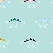 rainbow stegosaurus dinosaur print - mint