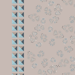 Dog footprints_with border_khaki