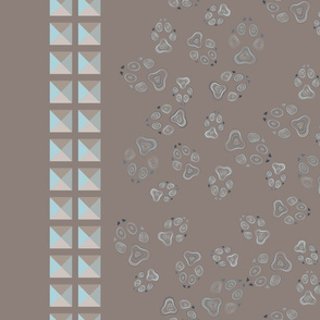 Dog footprint_with border_taupe