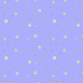 Pastel blossoms white on purple