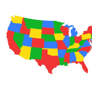 Centered single contintental U.S., bright primary colors