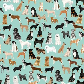 working dogs fabric - working dogs group fabric, dog fabric, dogs fabric, working dogs design  - mint