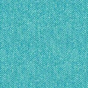 faux tweedy bright aqua herringbone tweed