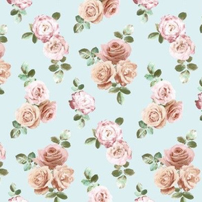 Vintage Rose Floral on duck egg blue - extra small
