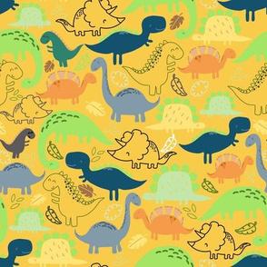 Dinosaur doodle yellow background
