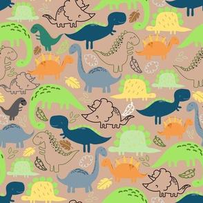 Dinosaur doodle orange background