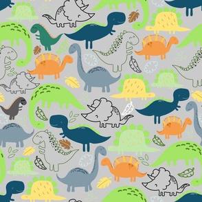 Dinosaur doodle light grey background