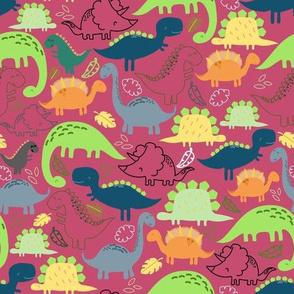Dinosaur doodle dark pink background
