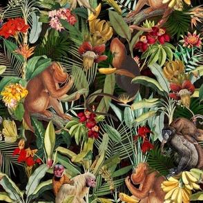 "12"" Monkeys Bananas Flowers Tropical Jungle Black"