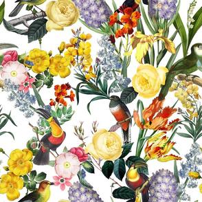 "18"" Vintage Toucan Bird Spring Flowers Midnight  Garden Jungle white"
