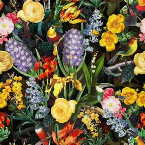 "18"" Vintage Toucan Bird Spring Flowers Midnight  Garden Jungle black"